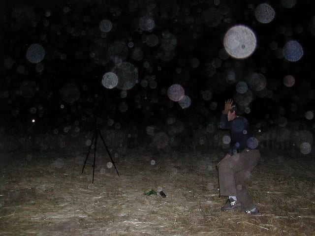 From Hans in Chile:    Strange apearance here in the Chilean mountains. Dozens of small  balls of light have apeared and have been revealed by use of flashlight.  They range in size from golf balls to basketballs. The spheres are  not visible with the naked eye as long the dog follows them as if he  could see them, snapping them in the air or on the ground without  visible effect. The spheres appear inside and outside the house for two days - July 29-30,  2002), we continue to take photographs.