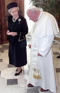 Britain's Queen Elizabeth II and Pope John Paul II meet at the Vatican Tuesday, Oct. 17, 2000. The British Royals, on a four-day official visit to Italy, after seeing the Pope, are scheduled to visit the Sistine Chapel, inside the Vatican. The Queen first met the pope on a previous visit to the Vatican in 1980. (AP Photo/Alessandro Bianchi, Pool)